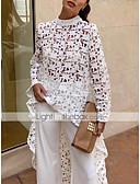 Χαμηλού Κόστους Φορέματα NYE-Γυναικεία Μπλούζα Βασικό Μονόχρωμο Λεπτό Δαντέλα Λευκό / Καλοκαίρι / Φθινόπωρο