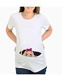billige Toppe-Mammaklær T-skjorte Dame - Tegneserie Gatemote Hvit