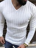 Χαμηλού Κόστους Ανδρικά μπλουζάκια και φανελάκια-Ανδρικά T-shirt Κομψό στυλ street Μονόχρωμο Λαιμόκοψη V Μαύρο / Μακρυμάνικο
