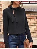 ราคาถูก เสื้อเชิ้ตสำหรับสุภาพสตรี-สำหรับผู้หญิง เชิร์ต พื้นฐาน สีพื้น สีดำ