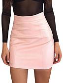 ราคาถูก กระโปรงผู้หญิง-สำหรับผู้หญิง เข้ารูป ไปเที่ยว PU ขนาดเล็ก กระโปรง - สีพื้น เอวสูง สีแดงชมพู สีกากี M L XL