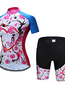 cheap Men's Tees & Tank Tops-TELEYI Women's Short Sleeve Cycling Jersey with Shorts Blue+Pink Floral Botanical Bike Clothing Suit Breathable Sports Polyester Floral Botanical Mountain Bike MTB Road Bike Cycling Clothing Apparel