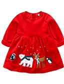 povoljno Vanjska odjeća za bebe-Dijete Djevojčice Osnovni Print Dugih rukava Normalne dužine Haljina Red / Dijete koje je tek prohodalo