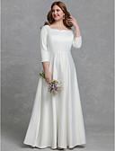 זול הינומות חתונה-גזרת A צווארון מרובע עד הריצפה סאטן שמלות חתונה עם על ידי LAN TING BRIDE®