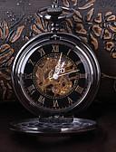 Χαμηλού Κόστους Μηχανικά Ρολόγια-Ανδρικά Διάφανο Ρολόι Ρολόι Τσέπης Ιαπωνικά Μηχανικό κούρδισμα Ρωμαϊκή Αριθμητική Μαύρο Καθημερινό Ρολόι Απίθανο Αναλογικό Βίντατζ Καθημερινό Steampunk - Μαύρο