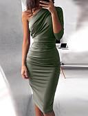 Χαμηλού Κόστους Print Dresses-Γυναικεία Βασικό Λεπτό Εφαρμοστό Φόρεμα - Μονόχρωμο, Πλισέ Ως το Γόνατο Ψηλή Μέση Ένας Ώμος / Sexy