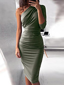 baratos Vestidos de Coquetel-Mulheres Básico Delgado Tubinho Vestido - Pregueado, Sólido Assimétrico Cintura Alta Altura dos Joelhos / Sexy