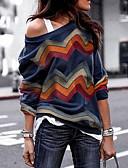 baratos Camisas Femininas-Mulheres Camisa Social Básico Estampado / Assimétrico, Sólido Ombro a Ombro Delgado Azul / Primavera / Verão / Outono / Inverno