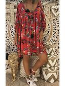 Χαμηλού Κόστους Επαγγελματικά Φορέματα-Γυναικεία Μεγάλα Μεγέθη Κομψό Φαρδιά Σε γραμμή Α Φόρεμα - Φλοράλ Πάνω από το Γόνατο Βαθύ V / Sexy