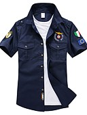 ราคาถูก เสื้อเชิ้ตผู้ชาย-สำหรับผู้ชาย ขนาดพิเศษ เชิร์ต พื้นฐาน ฝ้าย ปัก ปกตั้ง สีพื้น สีน้ำเงินกรมท่า / แขนสั้น