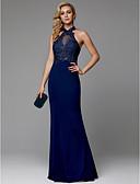 Χαμηλού Κόστους Φορέματα Χορού Αποφοίτησης-Τρομπέτα / Γοργόνα Δένει στο Λαιμό Μακρύ Spandex Όμορφη Πλάτη Χοροεσπερίδα / Επίσημο Βραδινό Φόρεμα 2020 με Διακοσμητικά Επιράμματα