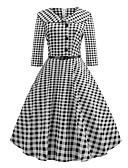 povoljno Vintage kraljica-Žene Party Rad Ulični šik Sofisticirano Pamuk Shift Swing kroj Haljina Geometrijski oblici Karirani uzorak Kragna košulje Midi Crno-bijela
