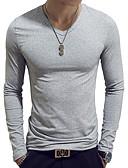 baratos Camisetas & Regatas Masculinas-Homens Camiseta Básico Sólido Algodão Decote V Delgado Azul Claro / Manga Longa / Primavera / Outono
