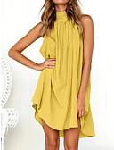 Χαμηλού Κόστους Casual Φορέματα-Γυναικεία Βασικό Βαμβάκι Πουκάμισο Φόρεμα Μίνι Στρογγυλή Ψηλή Λαιμόκοψη