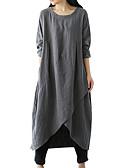 ราคาถูก เสื้อเชิ้ตสำหรับสุภาพสตรี-สำหรับผู้หญิง ขนาดพิเศษ พื้นฐาน หลวม ทูนิค แต่งตัว สีพื้น ไม่สมดุล