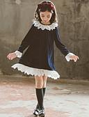 povoljno Haljine za djevojčice-Djeca Djevojčice Osnovni Jednobojni Dugih rukava Haljina Navy Plava