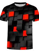 baratos Camisetas & Regatas Masculinas-Homens Tamanhos Grandes Camiseta Básico / Exagerado Estampado, 3D Algodão Decote Redondo Preto / Manga Curta