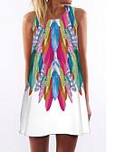 Χαμηλού Κόστους Print Dresses-Γυναικεία Παραλία Βασικό Θήκη Φόρεμα - Φλοράλ Πάνω από το Γόνατο Ψηλή Μέση / Sexy