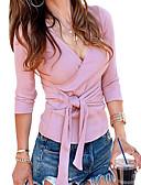 ราคาถูก เสื้อยืดสำหรับสุภาพสตรี-สำหรับผู้หญิง เชิร์ต พื้นฐาน คอวี สีพื้น สีแดงชมพู / Sexy