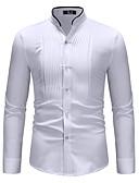 baratos Camisas Masculinas-Homens Camisa Social Básico Estampa Colorida Colarinho Clerical Branco / Manga Longa