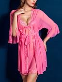 ราคาถูก เสื้อคลุมและชุดนอน-สำหรับผู้หญิง ลูกไม้ ซูเปอร์เซ็กซี่ สไตลตุ๊กตาเบบี้ / เสื้อคลุม / ชุด เสื้อนอน สีพื้น สีดำ สีม่วง สีบานเย็น ขนาดเดียว / สาย
