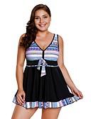 זול בגדי ים במידות גדולות-כחול נייבי XL XXL XXXL דפוס גיאומטרי, בגדי ים טנקיני חוטיני Bandeau כחול נייבי סגול כחול בהיר סטרפלס בסיסי בגדי ריקוד נשים / סקסית