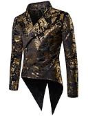 povoljno Muške košulje-Muškarci Dnevno Osnovni Jesen Dug Sako, Jednobojni / Geometrijski oblici Kragna košulje Dugih rukava Poliester Zlato / Red