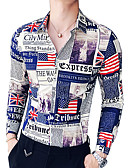 ราคาถูก เสื้อเชิ้ตผู้ชาย-สำหรับผู้ชาย เชิร์ต Military ปกคลาสสิค เพรียวบาง ลายตัวอักษร สีน้ำเงิน / แขนยาว / ฤดูร้อน