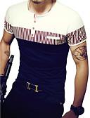Χαμηλού Κόστους Ανδρικά μπλουζάκια και φανελάκια-Ανδρικά T-shirt Ενεργό Ριγέ / Συνδυασμός Χρωμάτων Στρογγυλή Λαιμόκοψη Λεπτό Patchwork Ασπρόμαυρο Λευκό / Κοντομάνικο / Καλοκαίρι