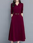 זול שמלות מקסי-צווארון V מידי אחיד - שמלה נדן בוהו מתוחכם ליציאה בגדי ריקוד נשים