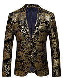 ราคาถูก เบลเซอร์ &สูทผู้ชาย-สำหรับผู้ชาย ปาร์ตี้ / ทุกวัน / คลับ Sophisticated / ที่พูดเกินจริง ฤดูใบไม้ผลิ / ตก ปกติ เสื้อคลุมสุภาพ, ลายดอกไม้ ปกคอแบะของเสื้อแบบน็อตช์ แขนยาว ฝ้าย / เส้นใยสังเคราะห์ ลายพิมพ์ สีทอง / เงิน