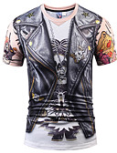 ราคาถูก เสื้อยืดและเสื้อกล้ามผู้ชาย-สำหรับผู้ชาย ขนาดพิเศษ เสื้อเชิร์ต พื้นฐาน / ที่พูดเกินจริง ฝ้าย ลายพิมพ์ คอกลม 3D สีดำ / แขนสั้น