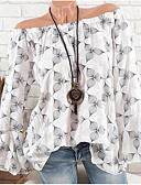 Χαμηλού Κόστους Print Dresses-Γυναικεία Μπλούζα Κομψό στυλ street Πουά / Φλοράλ / Στάμπα Ώμοι Έξω Με Βολάν / Ώμοι Έξω / Τροπικό Ρουμπίνι