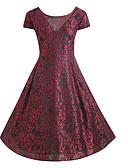 זול בגדי ים במידות גדולות-צווארון V מותניים גבוהים עד הברך דפוס, גיאומטרי - שמלה נדן סווינג מידות גדולות בסיסי בגדי ריקוד נשים / סקסית