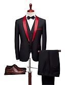 preiswerte Anzüge-Schwarz Solide Reguläre Passform Wollmischung / Polyster Anzug - Schalrevers Einreiher - 1 Knopf / Anzüge