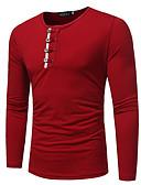 Χαμηλού Κόστους Ανδρικά μπλουζάκια και φανελάκια-Ανδρικά T-shirt Βασικό Μονόχρωμο Στρογγυλή Λαιμόκοψη Ρουμπίνι / Μακρυμάνικο