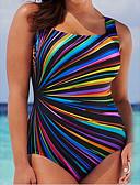 זול בגדי ים במידות גדולות-חום XL XXL XXXL דפוס קשת, בגדי ים חלק אחד (שלם) חום שחור סגול כתפיה מידות גדולות בגדי ריקוד נשים / סקסית