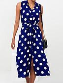 ราคาถูก ชุดเดรสพิมพ์ลาย-สำหรับผู้หญิง พื้นฐาน ปลอก แต่งตัว สีพื้น ลายจุด ยาวถึงเข่า เอวสูง คอเสื้อเชิ้ต / Sexy