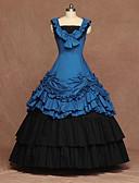povoljno Stare svjetske nošnje-Cosplay Lolita Vintage inspirirano Haljine Žene Kostim Plava Vintage Cosplay Party Stage Bez rukávů Do poda Veći konfekcijski brojevi