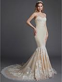 baratos Vestidos de Casamento-Sereia Decote Princesa Cauda Capela Renda / Tule Vestidos de casamento feitos à medida com Apliques de LAN TING BRIDE®