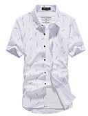 billige Herreskjorter-Klubbkrage Skjorte Herre - Geometrisk, Trykt mønster Hvit / Kortermet