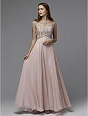 povoljno Maturalne haljine-A-kroj Ovalni izrez Do poda Šifon / Til Prom Haljina s Perlica / Traka / vrpca po TS Couture®