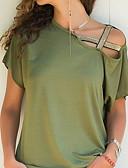 ราคาถูก เสื้อผู้หญิง-สำหรับผู้หญิง เสื้อเชิร์ต ไหล่ตก / Hollow คอซอง หลวม สีพื้น สีบานเย็น