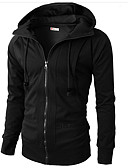 cheap Men's Clothing-Men's Basic Long Sleeve Hoodie - Solid Colored Hooded Black M