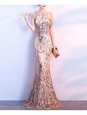 billige Aftenkjoler-Havfrue Grime Svøpeslep Paljetter Sexy / Elegant Formell kveld Kjole 2020 med Perlearbeid / Paljett / Krystalldetaljer