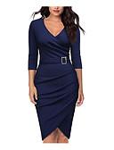Χαμηλού Κόστους Επαγγελματικά Φορέματα-Γυναικεία Βασικό Βαμβάκι Εφαρμοστό Θήκη Φόρεμα Μίντι Λαιμόκοψη V