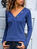 ราคาถูก จั๊มสูทและเสื้อคลุมสำหรับผู้หญิง-สำหรับผู้หญิง เสื้อเชิร์ต ปุ่ม คอวี สีพื้น สีดำ / ฤดูใบไม้ผลิ / ฤดูร้อน / ตก / ฤดูหนาว