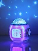 billiga Strumpor och strumpbyxor-musik starry sky projektion väckarklocka snooze digital led väckarklocka kalender termometer projektion ljus