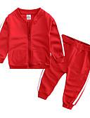 povoljno Kompletići za Za dječake bebe-Dijete Dječaci Ležerne prilike / Osnovni Dnevno / Sport Jednobojni Dugih rukava Regularna Normalne dužine Pamuk Komplet odjeće Blushing Pink / Dijete koje je tek prohodalo
