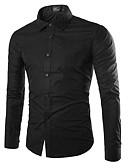 זול חולצות לגברים-אחיד בסיסי חולצה - בגדי ריקוד גברים ירוק צבא / שרוול ארוך